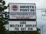 Sign at Amvets Hall
